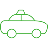 Green Cab Car Icon - dog walking Raleigh